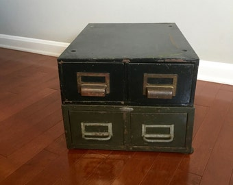 Vintage Two Green Metal Industrial Storage Drawers Cole Steel Rustic Metal Organization