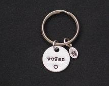 vegan keychain, personalized initial charm, vegan jewelry, veganism, vegetarian keyring, animal lover gift, birthday gift, best friend gift