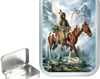 Indian Mountain 1oz silver hinged tobacco tin,pill box,storage tin