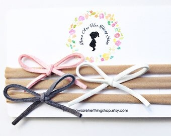 CUSTOMIZE your adelyn suede mini bow set - choose 3 or 5 bows and colors