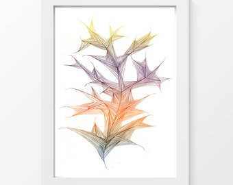 """Leaf / plant organic line printable art drawing wall art home decor downloadable art to print at home or at a print shop / A4 and 8.5"""" x 11"""""""