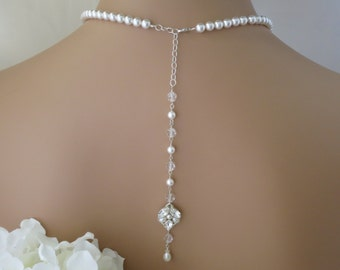 Backdrop bridal necklace, Pearl backdrop wedding necklace, Swarovski crystal and pearl back necklace, Vintage style necklace