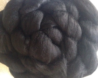 Commercially dyed combed top, roving, 19micron soft, black, felting, spinning fiber, 4oz