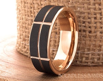 Rose Gold And Black Tungsten Ring Wedding Band Promise Ring Anniversary Black And Rose 7mm Two Tone Rose Gold Ring Flat Grooved Comfort Fit