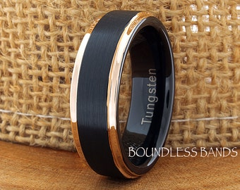 Tungsten Wedding Ring Band 7mm Black Rose Gold Tungsten Ring Anniversary Ring Promise Ring Mans Tungsten Ring Comfort Fit Free Engraving