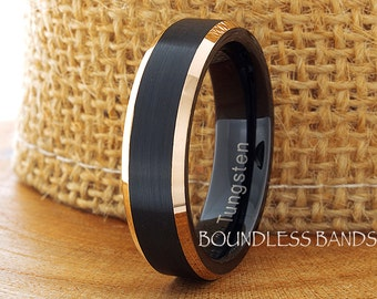 Tungsten Wedding Ring Black Rose Gold Plated Beveled Edges 6mm Tungsten Ring Anniversary Ring Promise Ring Comfort Fit Free Laser Engraving