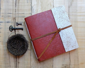 Distressed Leather Watercolor Sketchbook - Red and White