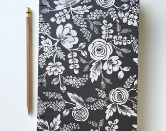 Black and White Floral - Coptic Stitch Lined Journal