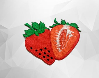 Strawberry Iron on Patch(L1) - Red Strawberry Applique Embroidered Iron on Patch -Size8.3x7.4 cm