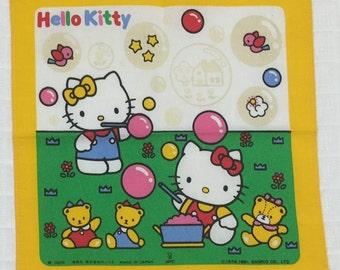 Vintage child's handkerchief Sanrio Hello Kitty 1991 Kawaii hankies Made in Japan