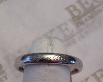 Vintage Tiffany Co Platinum Ladies 3mm Notes Wedding Band Engraved On Outside And
