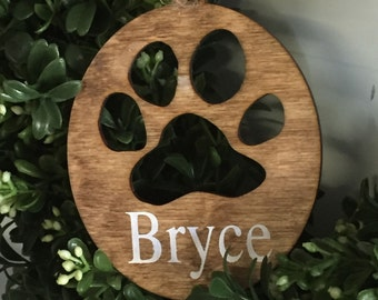 Dog personalized ornament, customized dog ornament,  Wood paw Ornament, Wood ornament, Farmhouse Christmas, Farmhouse Christmas Ornament,