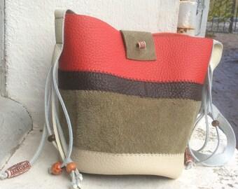 Leather shape purse small bag
