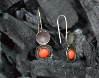 sterling silver earrings handmade, orange earrings, glass cabochon, sterling silver earring, silver 925, contemporay, metalsmith modern