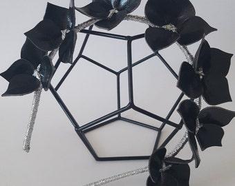 BLACK & SILVER Leather Crown,Headband, Leather Flower Headpiece, Wedding Fascinator