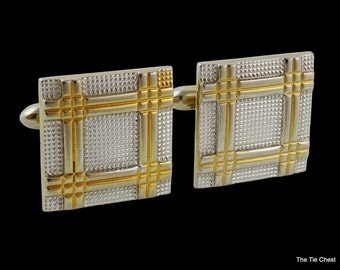 Vintage Swank Cufflinks Two Tone Square Classic