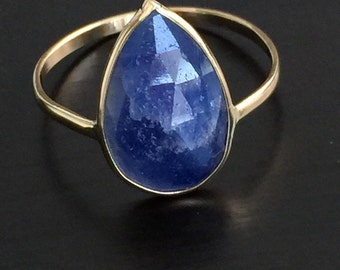 14k solid yellow gold and rose cut natural blue sapphire ring, pear shaped, September birthstone, natural untreated sapphire