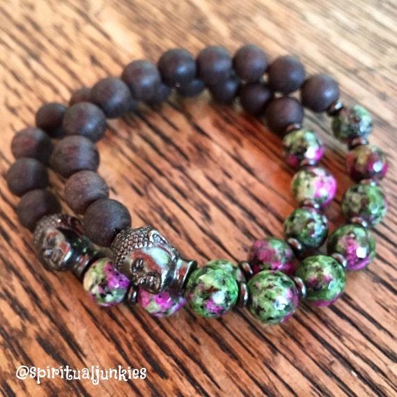 Stackable Faceted Ruby Zoisite + Black Sandalwood Yoga and Meditation Bracelet with Black Oxide Buddha (single bracelet)