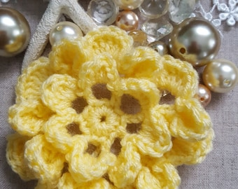 Crochet Flower To Decorate, Crochet Flower Applique, Yellow Crochet Flower  Embellishment