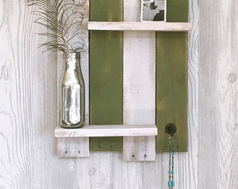 Rustic 2 tier shelf made from reclaimed wood