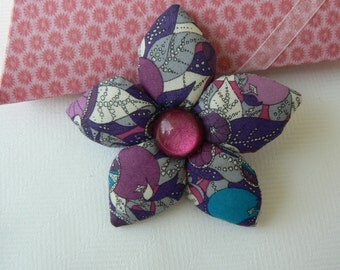 Liberty of London fabric brooch Flower floral Liberty of London Tana Lawn brooch handmade in Paris