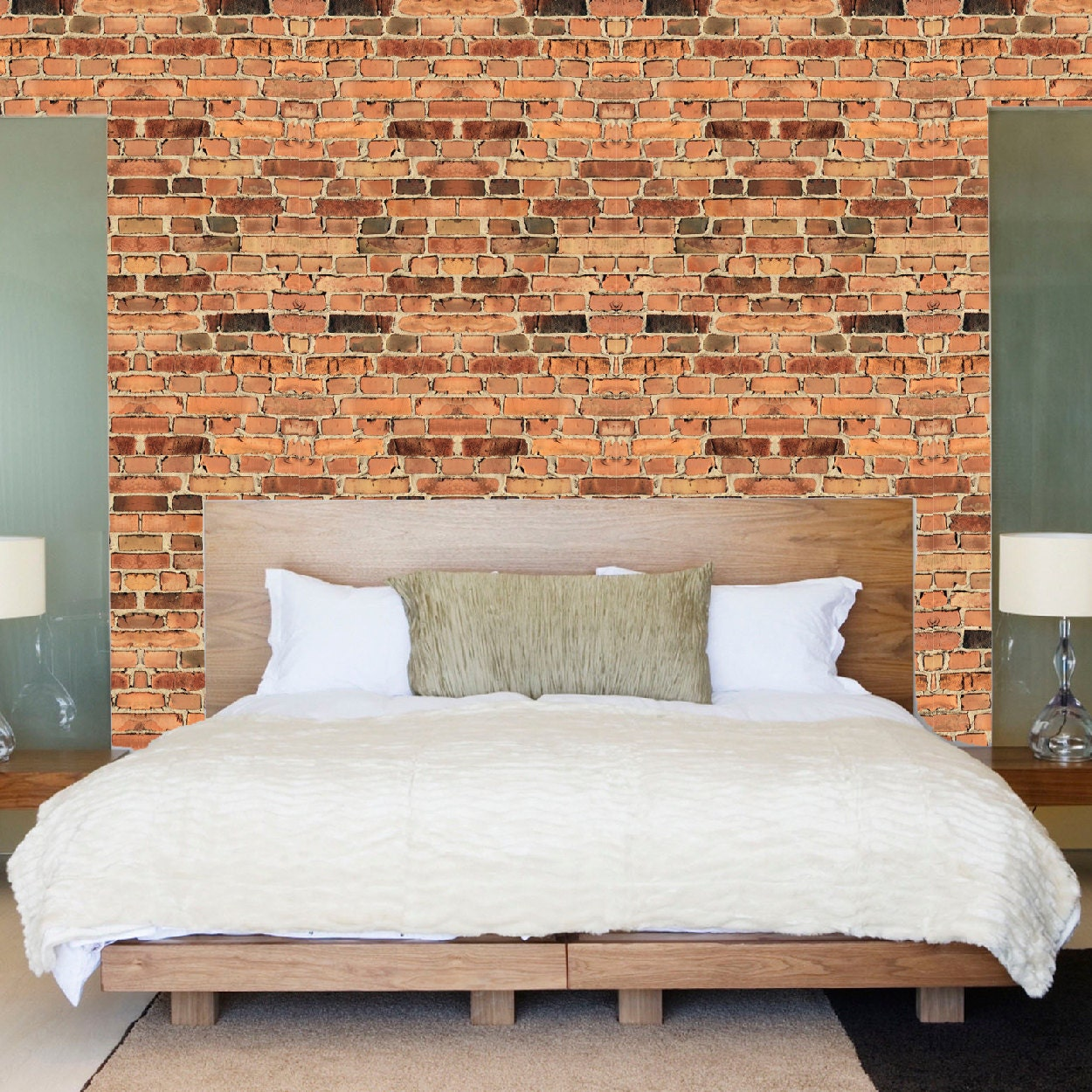Brick wallpaper self adhesive decals removable brick wall for Brick wall decal mural