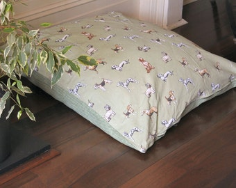 "Dog bed large made from waterproofed 100% cotton fabric ""Best of Show"" and stars in sage green"