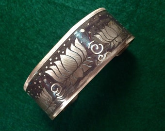"""Copper  cuff bracelet, etched lotus design, 1' x 6 1/2""""  brown background , free domestic shipping"""