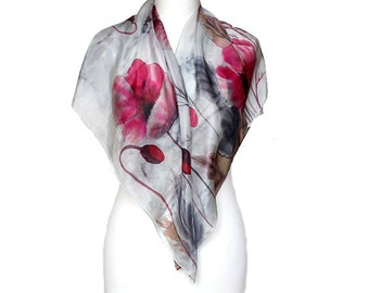 SALE! Women silk scarfs, Hand painted scarf, Square silk scarf, Painted silk scarf, Women gray scarf, Floral scarfs, Red flower scarf