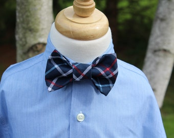 Little Boy Bow Tie, Infant/Toddler Navy Blue Plaid Bow Tie, Boys Plaid Bow Tie with Adjustable Velcro Neck Band, Ready to Ship