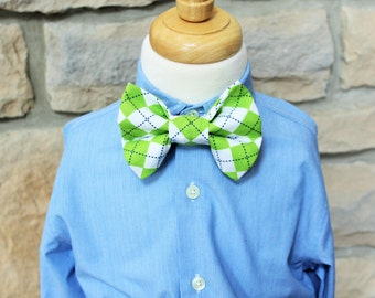 Little Boys Bow Tie, Little Guy Bow Tie, Green Argyle Bow Tie with Adjustable Velcro Neck Band, Easter Tie, St. Patrick's Day Tie