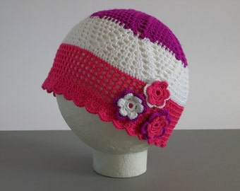 "Girl Summer Hat , Girl Sun Hat , Crochet Girl Hat 18"" ,  Baby Girl Beanie , Sun Hat , Girls Accessories"