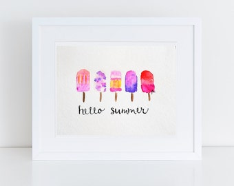 Summer Popsicle Watercolor Painting- 5x7, 8x10
