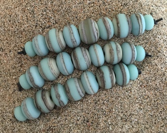 Turquoise & Ivory 9 Lampwork Beads  SRA
