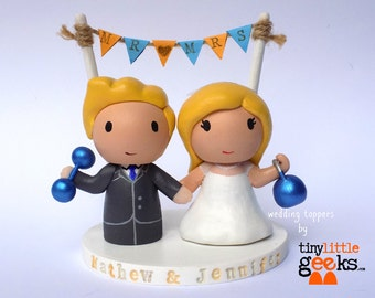 Custom Wedding Cake Topper - Gym Couple