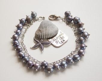 Black pearl bracelet. Hand crafted designer natural stone bracelet