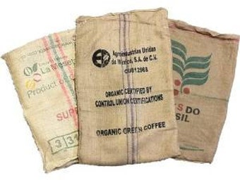 12 Used Coffee Bean Burlap Bags - Burlap Coffee Bags - Organic - arts/crafts - upholstery - gardening