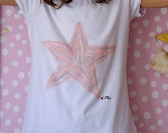 T-shirt girl hand painted