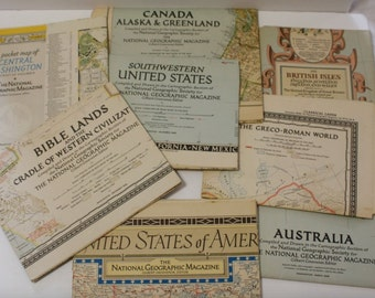 Lot of 8 Vintage National Geographic Maps 1946-1951