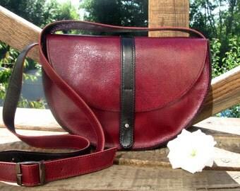Crossbody leather bag red black color Summer bag Messenger bag purse Gift for her Woman shoulder bag Handmade Handbag