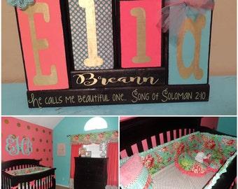 Personalized name block set kids nursery made to match customizable