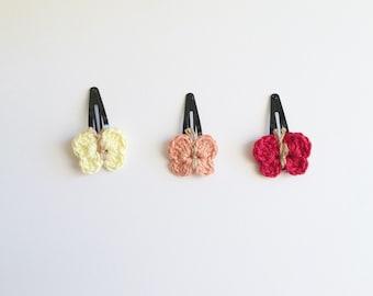 Set of two hair accesories, butterflies hair accesories, set of two hair butterflies  , crochet hairbutterflies , cute girl hair clip,