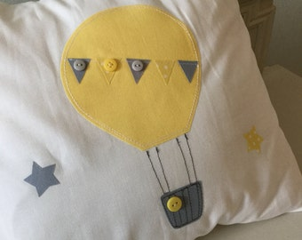 Hand made nursery cushion covers hot air balloons yellow grey  chevron spotty modern contemporary vintage