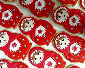 Hand decorated Russian Nesting Doll/ Babuckah/ Matryoshka cookies
