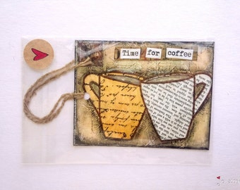 SALE!  Art bookmark, coffee bookmark, coffee art, book mark, mixed media art, gift bookmark, brown, ivory, tan, Time for Coffee