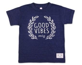 Good Vibes - Tri-Blend, Indigo, T-Shirt, Kids clothing