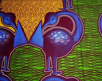 GTP Wax Print Fabric, Ghana Africa, Sankofa Adinkra Symbol