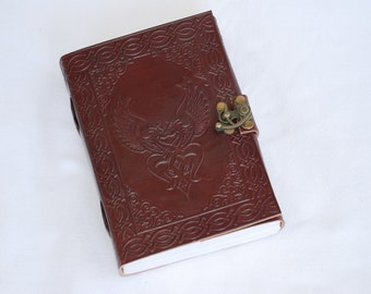 Handmade Celtic Birds Tooled Leather Blank Journal, Diary, Sketch or Notebook Book