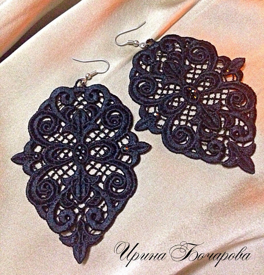 Free Standing Lace Machine Embroidery Design Earrings Jewelry