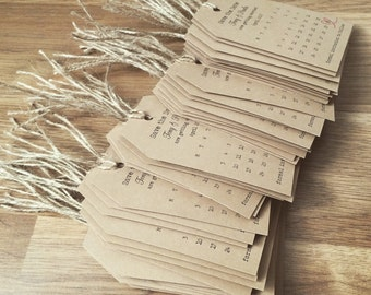 70 x Tags Save the date Calendar with twine & 70 envelopes